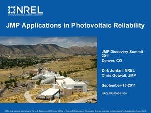 Primary view of object titled 'JMP Applications in Photovoltaic Reliability (Presentation)'.