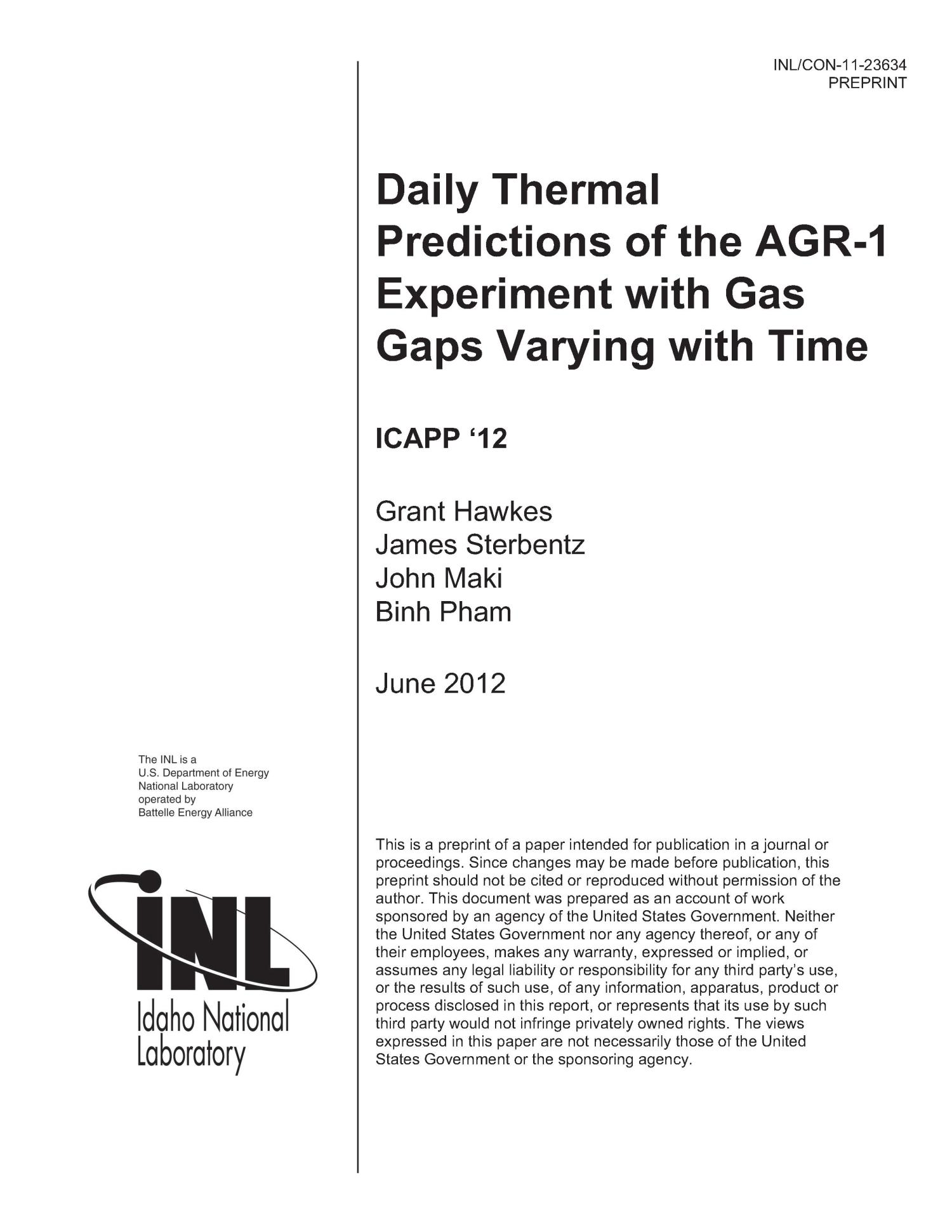 Daily Thermal Predictions of the AGR-1 Experiment with Gas Gaps Varying with Time                                                                                                      [Sequence #]: 1 of 13