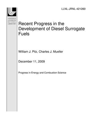 Primary view of object titled 'Recent Progress in the Development of Diesel Surrogate Fuels'.