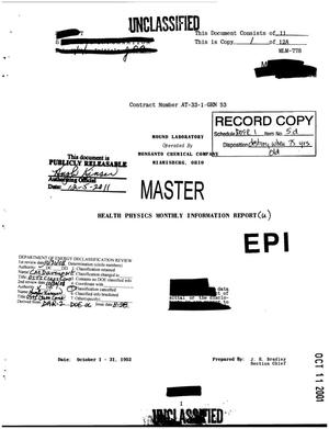 Primary view of object titled 'Health-Physics Monthly Information Report. October 1952'.