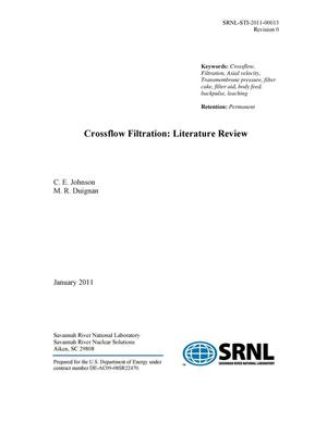 Primary view of object titled 'CROSSFLOW FILTRATON: LITERATURE REVIEW'.