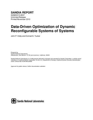 Primary view of object titled 'Data-driven optimization of dynamic reconfigurable systems of systems.'.