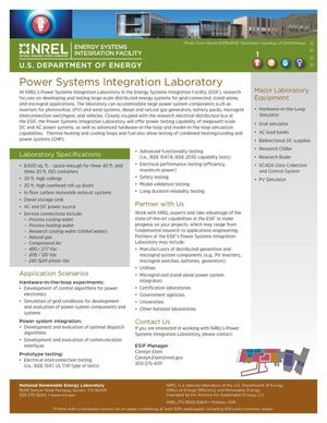 Primary view of object titled 'Power Systems Integration Laboratory (Fact Sheet)'.
