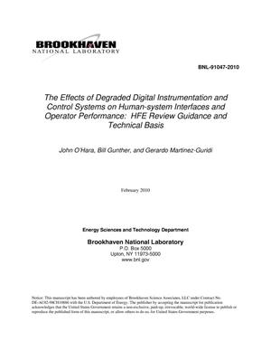 Primary view of object titled 'The Effects of Degraded Digital Instrumentation and Control Systems on Human-system Interfaces and Operator Performance: HFE Review Guidance and Technical Basis'.