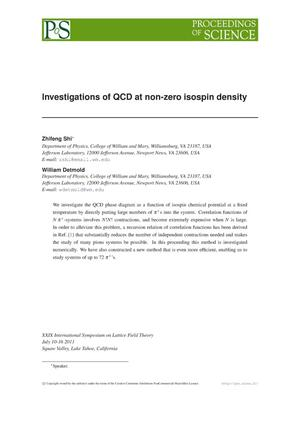 Primary view of object titled 'Investigations of QCD at non-zero isospin density'.