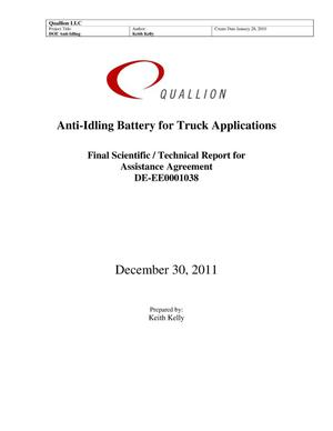 Primary view of object titled 'Anti-Idling Battery for Truck Applications'.