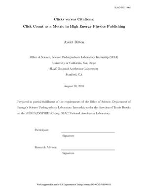 Primary view of object titled 'Clicks versus Citations: Click Count as a Metric in High Energy Physics Publishing'.