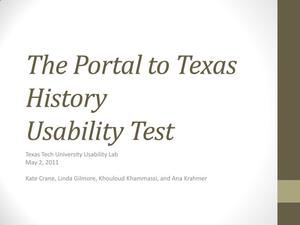 Primary view of object titled 'The Portal to Texas History Usability Test'.
