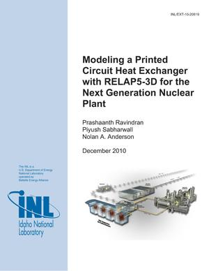 Primary view of object titled 'Modeling a Printed Circuit Heat Exchanger with RELAP5-3D for the Next Generation Nuclear Plant'.