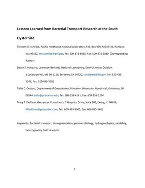 Primary view of object titled 'Lessons learned from bacterial transport research at the South Oyster Site'.
