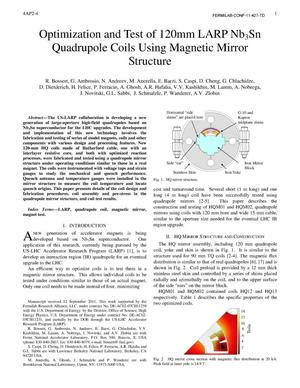 Primary view of object titled 'Optimization and test of a 120mm LARP Nb3Sn quadrupole coil using magnetic mirror structure'.