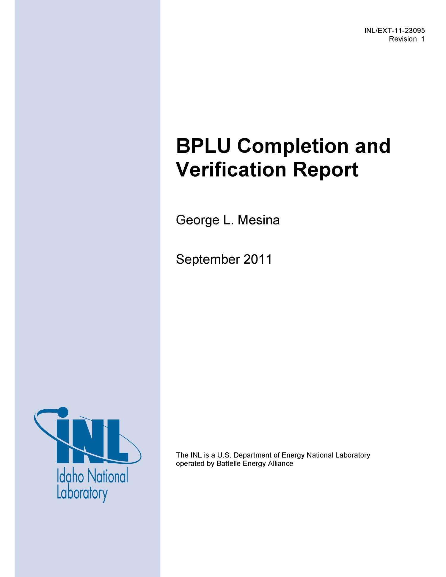 BPLU Completion and Verification Report                                                                                                      [Sequence #]: 1 of 34