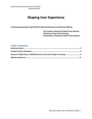 Primary view of object titled 'Shaping User Experience'.