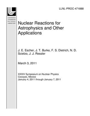 Primary view of object titled 'Nuclear Reactions for Astrophysics and Other Applications'.