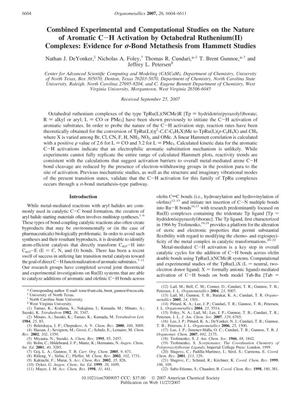 Primary view of object titled 'Combined Experimental and Computational Studies on the Nature of Aromatic C-H Activation by Octahedral Ruthenium(II) Complexes: Evidence for σ-Bond Metathesis from Hammett Studies'.