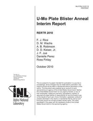 Primary view of object titled 'U-Mo Plate Blister Anneal Interim Report'.