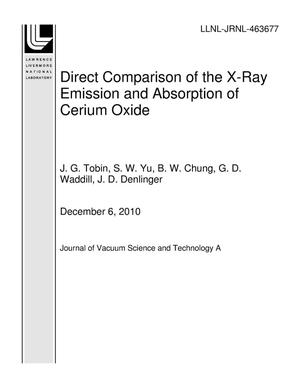 Primary view of object titled 'Direct Comparison of the X-Ray Emission and Absorption of Cerium Oxide'.