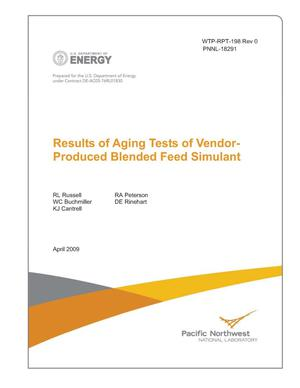 Primary view of object titled 'Results of Aging Tests of Vendor-Produced Blended Feed Simulant'.