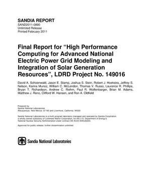 Primary view of object titled 'Final report for %22High performance computing for advanced national electric power grid modeling and integration of solar generation resources%22, LDRD Project No. 149016.'.