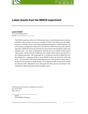 Primary view of object titled 'Latest results from the MINOS experiment'.