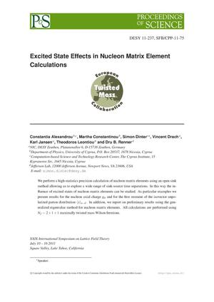 Primary view of object titled 'Excited State Effects in Nucleon Matrix Element Calculations'.