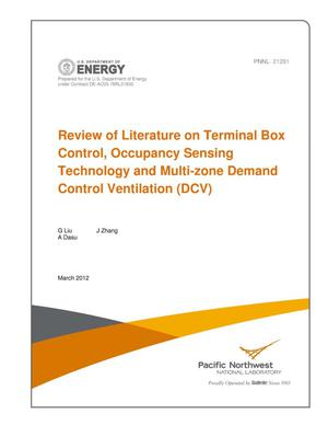 Primary view of object titled 'Review of Literature on Terminal Box Control, Occupancy Sensing Technology and Multi-zone Demand Control Ventilation (DCV)'.