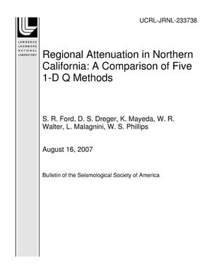 Primary view of object titled 'Regional Attenuation in Northern California: A Comparison of Five 1-D Q Methods'.