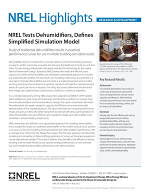 Primary view of object titled 'NREL Tests Dehumidifiers, Defines Simplified Simulation Model (Fact Sheet)'.
