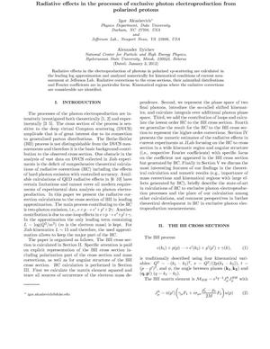 Primary view of object titled 'Radiative effects in the processes of exclusive photon electroproduction from polarized protons'.