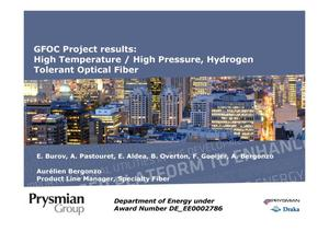 Primary view of object titled 'GFOC Project results: High Temperature / High Pressure, Hydrogen Tolerant Optical Fiber'.