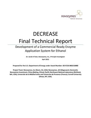Primary view of object titled 'DECREASE Final Technical Report: Development of a Commercial Ready Enzyme Application System for Ethanol'.