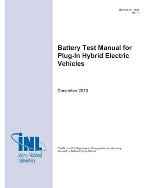 Primary view of object titled 'Battery Test Manual For Plug-In Hybrid Electric Vehicles'.