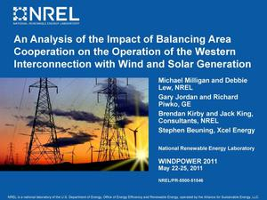 Primary view of object titled 'Analysis of the Impact of Balancing Area Cooperation on the Operation of the Western Interconnection with Wind and Solar Generation (Presentation)'.