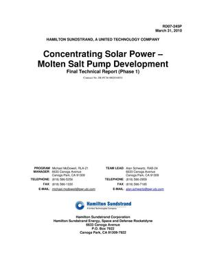 Primary view of object titled 'Concentrating Solar Power - Molten Salt Pump Development, Final Technical Report (Phase 1)'.