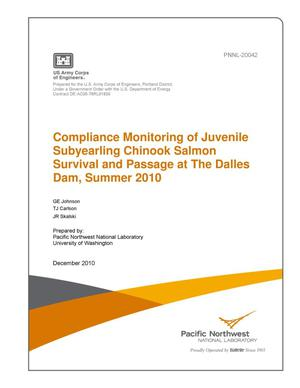 Primary view of object titled 'Compliance Monitoring of Juvenile Subyearling Chinook Salmon Survival and Passage at The Dalles Dam, Summer 2010'.