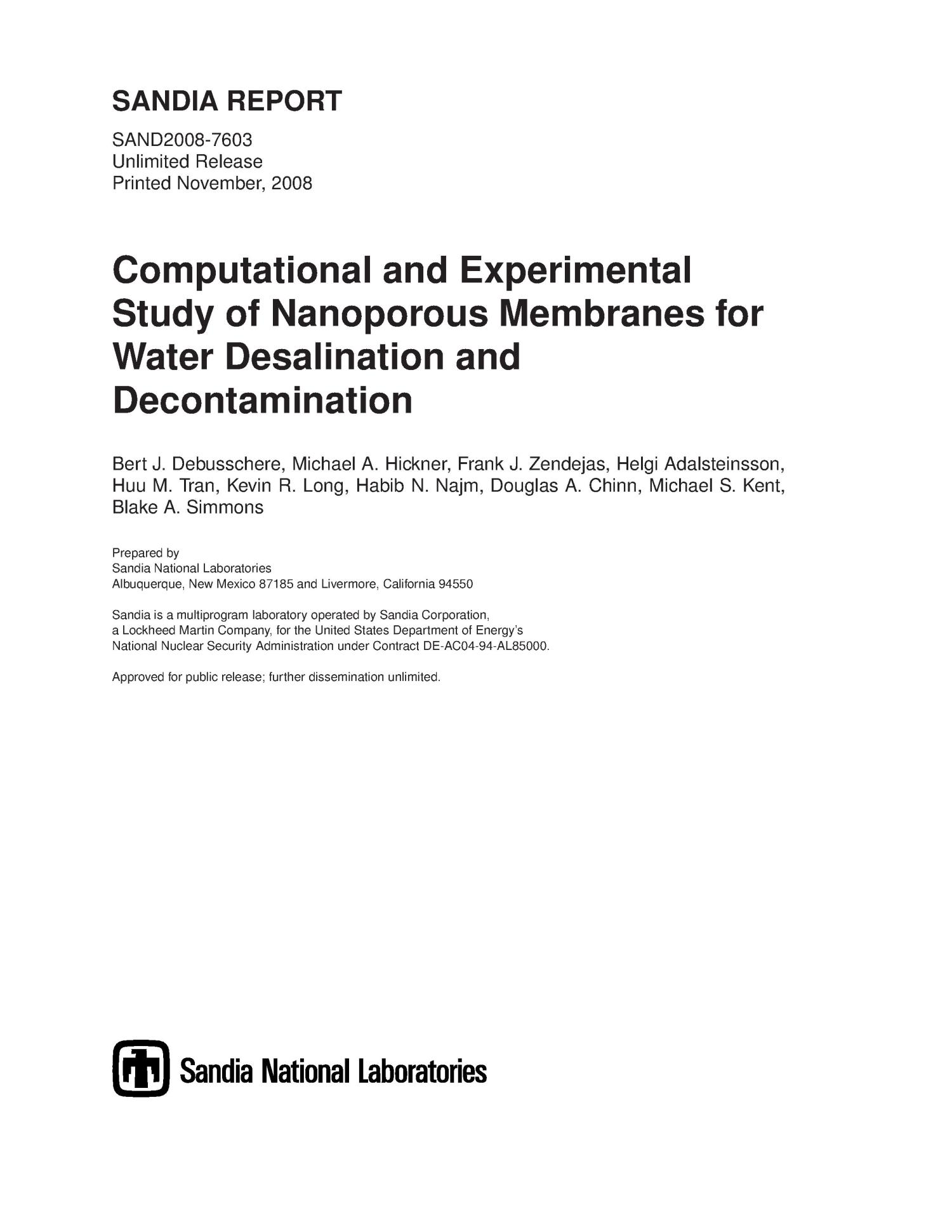 putational and experimental study of nanoporous membranes for