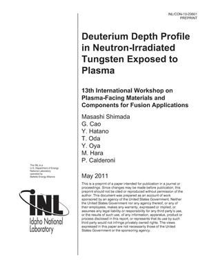 Primary view of object titled 'Deuterium Depth Profile in Neutron-Irradiated Tungsten Exposed to Plasma'.