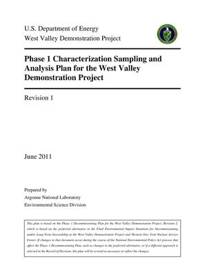 Primary view of object titled 'Phase 1 Characterization sampling and analysis plan West Valley demonstration project.'.