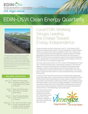 Primary view of object titled 'EDIN-USVI Clean Energy Quarterly: Volume 1, Issue 2, March 2011, Energy Development in Island Nations, U.S. Virgin Islands (Newsletter)'.