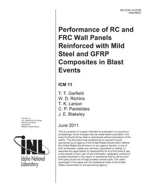 Primary view of object titled 'PERFORMANCE OF RC AND FRC WALL PANELS REINFORCED WITH MILD STEEL AND GFRP COMPOSITES IN BLAST EVENTS'.