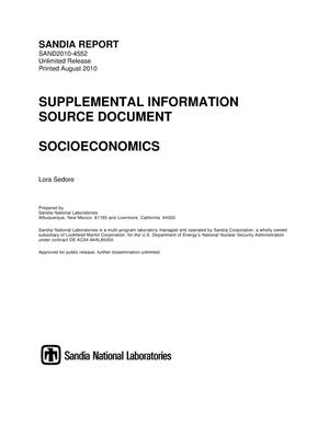 Primary view of object titled 'Supplemental information source document : socioeconomics.'.