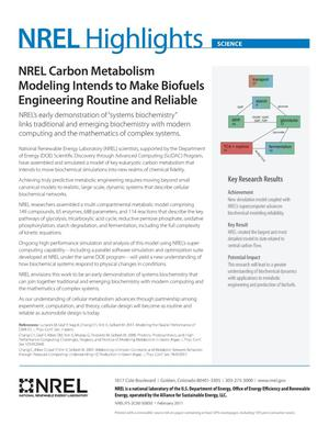 Primary view of object titled 'NREL Carbon Metabolism Modeling Intends to Make Biofuels Engineering Routine and Reliable (Fact Sheet)'.