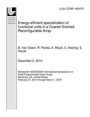 Primary view of object titled 'Energy-efficient specialization of functional units in a Coarse-Grained Reconfigurable Array'.