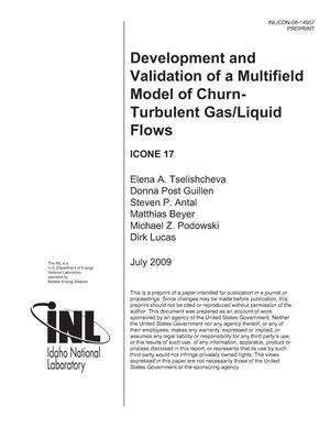 Primary view of object titled 'DEVELOPMENT AND VALIDATION OF A MULTIFIELD MODEL OF CHURN-TURBULENT GAS/LIQUID FLOWS'.