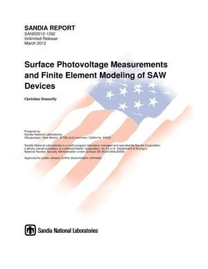 Primary view of object titled 'Surface photovoltage measurements and finite element modeling of SAW devices.'.