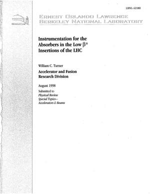 Primary view of object titled 'Instrumentation for the absorbers in the low Beta* Insertions of the LHC'.