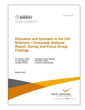 Primary view of object titled 'Education and Outreach in the Life Sciences: Crosswalk Analysis Report: Survey and Focus Group Findings'.