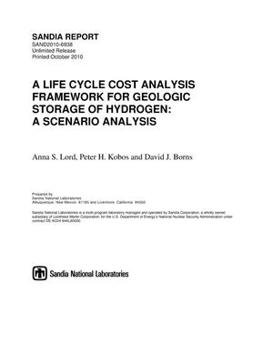 Primary view of object titled 'A life cycle cost analysis framework for geologic storage of hydrogen : a scenario analysis.'.