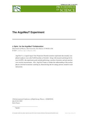 Primary view of object titled 'The ArgoNeuT experiment'.