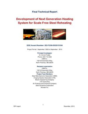 Primary view of object titled 'Development of Next Generation Heating System for Scale Free Steel Reheating'.